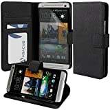 HTC One M7 Case, Abacus24-7 Leather Wallet Case with Stand, Black