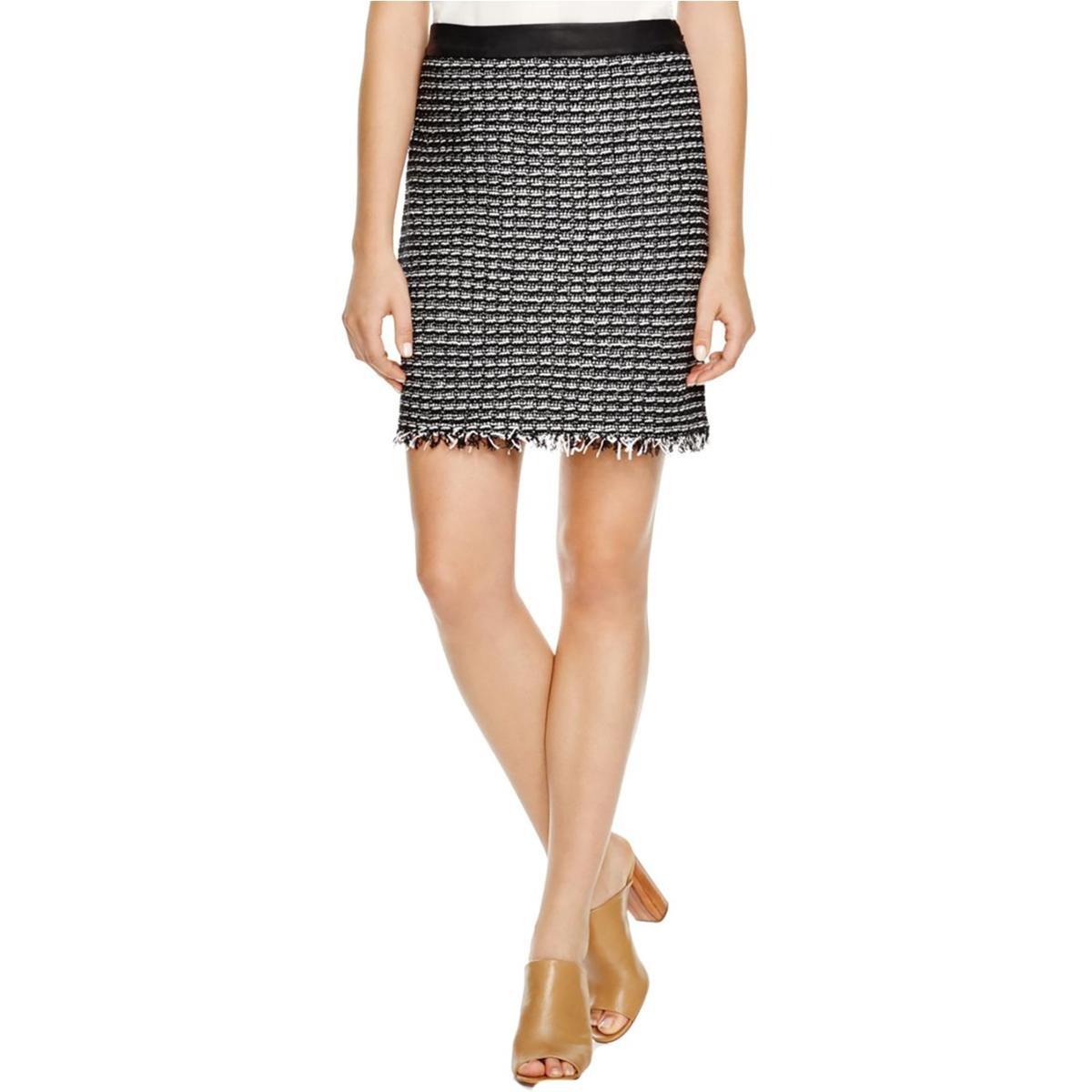 Tory Burch Womens Raffia Tweed Fringe A-Line Skirt B/W 4