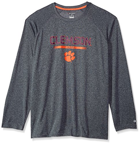 NCAA Clemson Tigers Men's Champion Team Core Long sleeve Tee, Charcoal Heather, Small