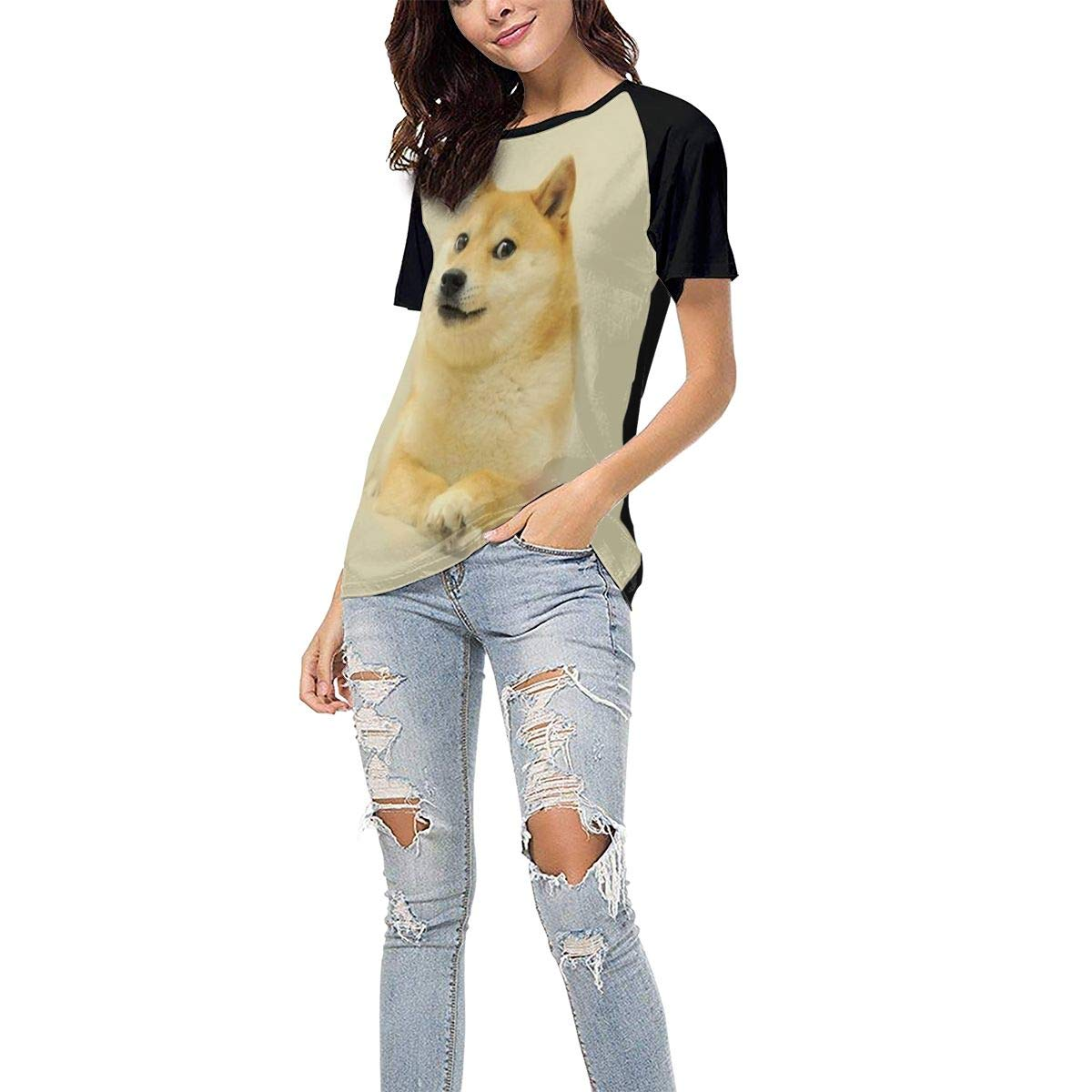 Haughty Doge Casual Raglan Tee Baseball Tshirts Tops Blouse Laki-co Womens Summer Short Sleeve