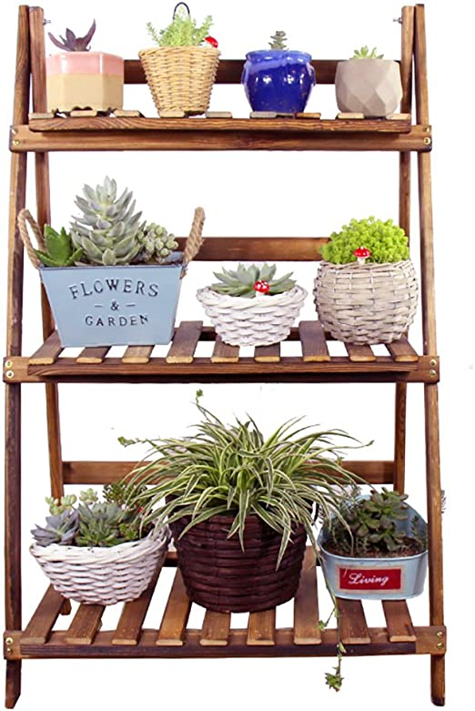 Chairs FL estantes para Plantas/estanteria Jardin Madera Maciza Plegable carnosa Bonsai Flor Estante Piso salón balcón Interior y Exterior Estante del jardín estanterias de Jardin: Amazon.es: Hogar