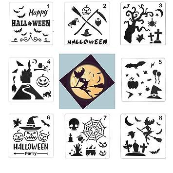 Halloween Basteln Holz.Kobwa Halloween Zeichnungs Schablonen Sets 8 Verschiedene Halloween