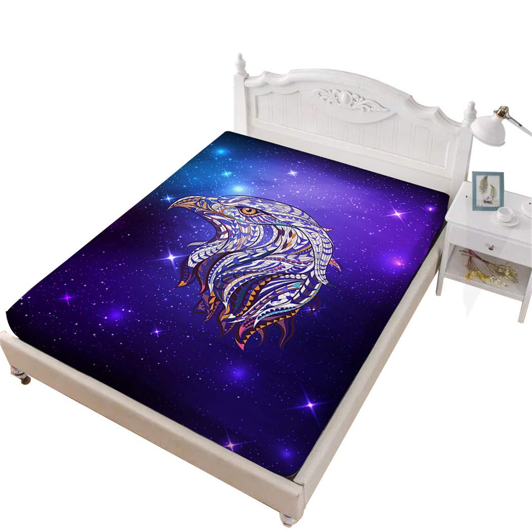 Jessy Home Eagle Bedroom Decor for Girls£¬Fitted Sheet Queen,3D Bedding Purple