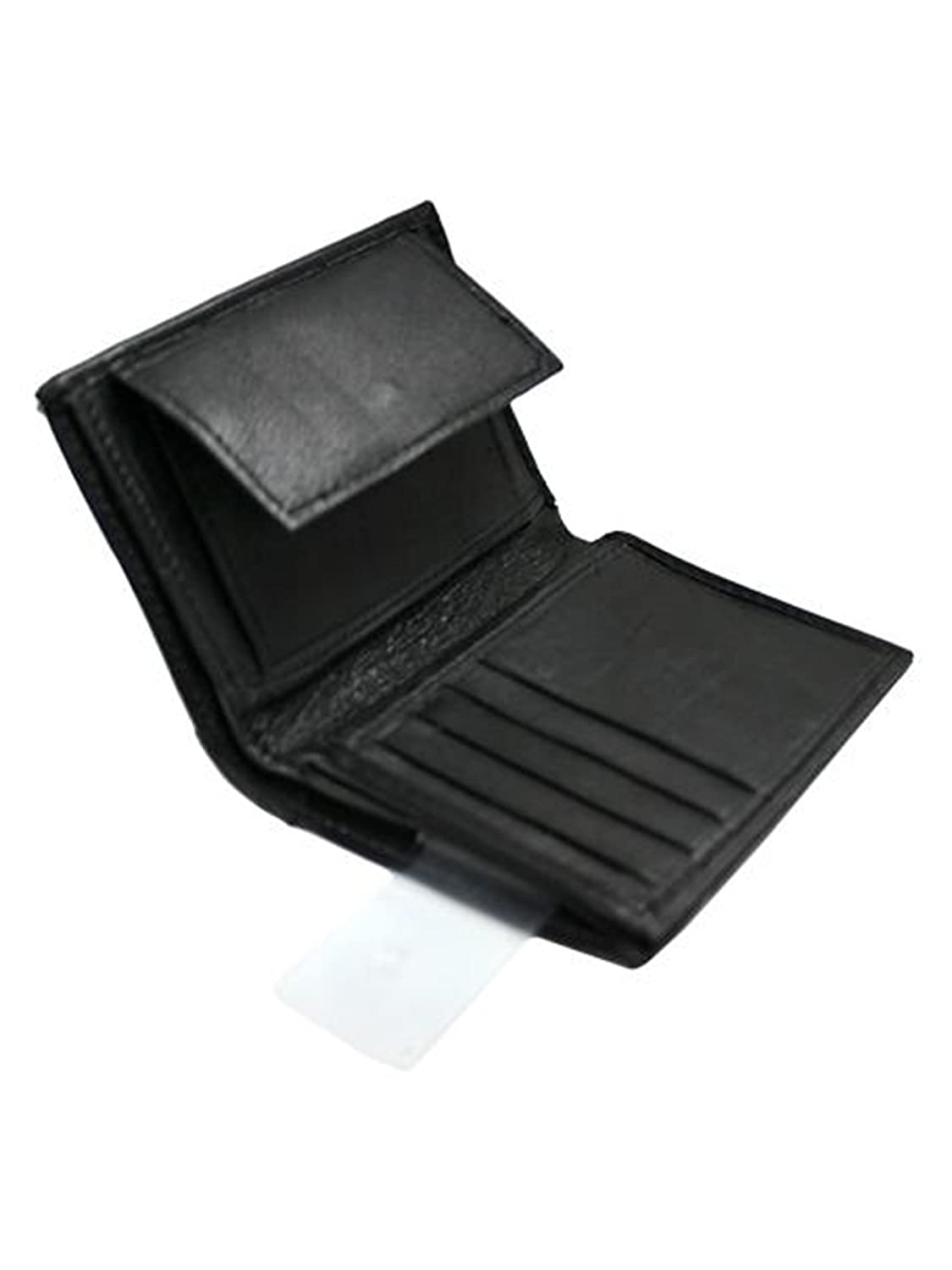 Amazon.com: Slim Bifold Mens Negro cartera con moneda ...