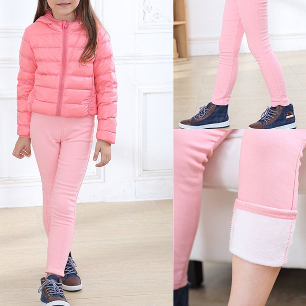 Qitun Filles Leggings Chaud Slim Collant Elastique Jegging de Crayon Automne Hiver Thermique Pantalons