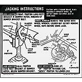 1969 CAMARO SS COUPE & CONVERTIBLE (REGULAR WHEEL) JACKING INSTRUCTIONS & STOWAGE DECAL - STICKER