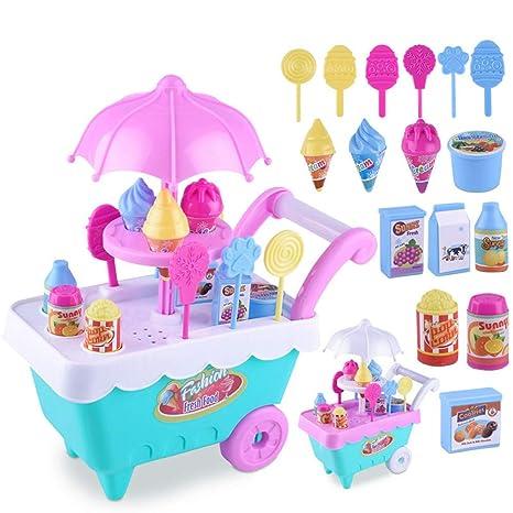 ROKOO Juego de rol de niños Juguetes Carro de Mini Dulces Carro de la Tienda de
