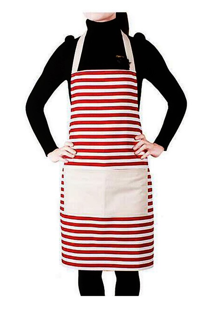 Elisona®Unisex Couple Kitchen Cooking Canvas Cross Stripe Pattern Waterproof Apron with Pocket Red