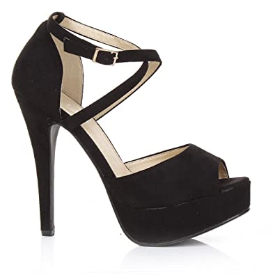 be7721d0cf06 SC Womens Peep Toe Strappy Platform Stiletto High Heel Sandals Shoes UK  Size 3 4 5 6 7 8  Amazon.co.uk  Shoes   Bags
