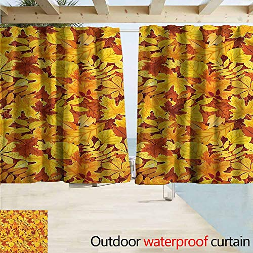 MaryMunger Outdoor Waterproof Curtains Autumn Shady Fall Oak Maple Leaf Blackout Draperies for Bedroom W63x63L - Bed Bedroom Maple Canopy