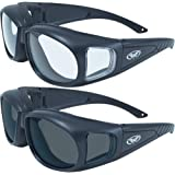 2 Motorcycle Safety Sunglasses Fits Over MOST Rx Glasses Smoke and Clear Day & Night Usage Meets ANSI Z87.1 Standards…