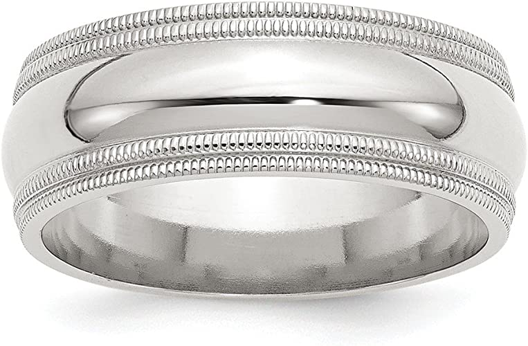 925 Sterling Silver 5mm Comfort Fit Double Milgrain Size 4 to 13.5 Band Ring