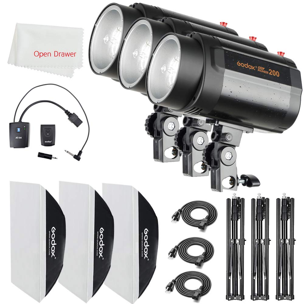 Godox 600Ws Strobe Studio Flash Kit 3 Pieces 200Ws Photo-Strobe Lighting, Light Stands, Triggers, Softbox by Godox