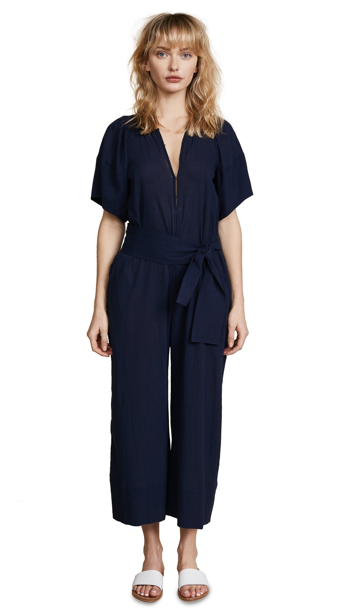 Apiece Apart Women's Soleil Balloon Sleeve Jumpsuit, Navy, 8