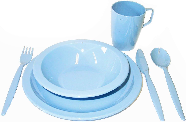 Harfield - Juego de vajilla para camping (plato, tazón, vaso y cubiertos), color azul