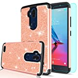 zte blade 3 case - ZTE Blade Max 3 Case with HD Screen Protector for Girls Women,LeYi Luxury Glitter Cute Design [PC Silicone Leather] Dual Layer Protective Phone Case for ZTE Blade Max 3 / Z986U / Z986DL TP Rose Gold