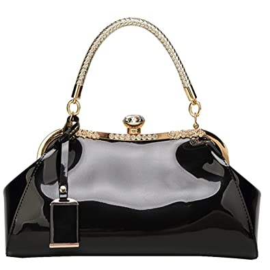 694c70f4d13 Amazon.com  Goodbag Boutique Women Patent Leather Wedding Tote Handbag  Shell Bag with Ring Handle