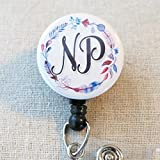 NP Nurse Practitioner ID Badge Holder with Swivel Clip, Floral Feather Wreath Nurse Hospital Badge, Nurse Graduation Gifts, Retractable Badge Reel