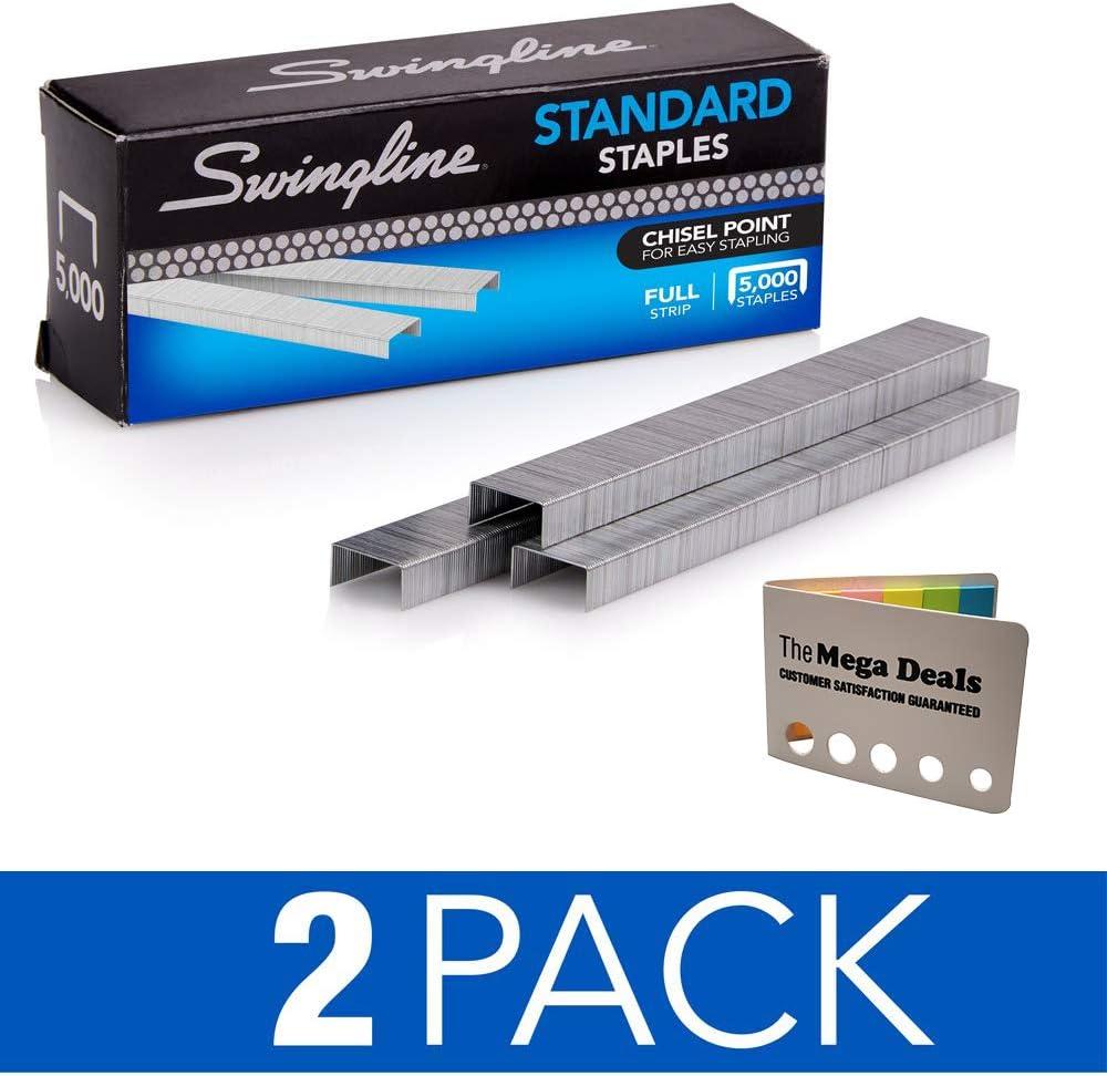 "Swingline Staples, Standard, 1/4"" Length, 210/Strip, 5000/Box, 2 Pack   5 Color Flags…"