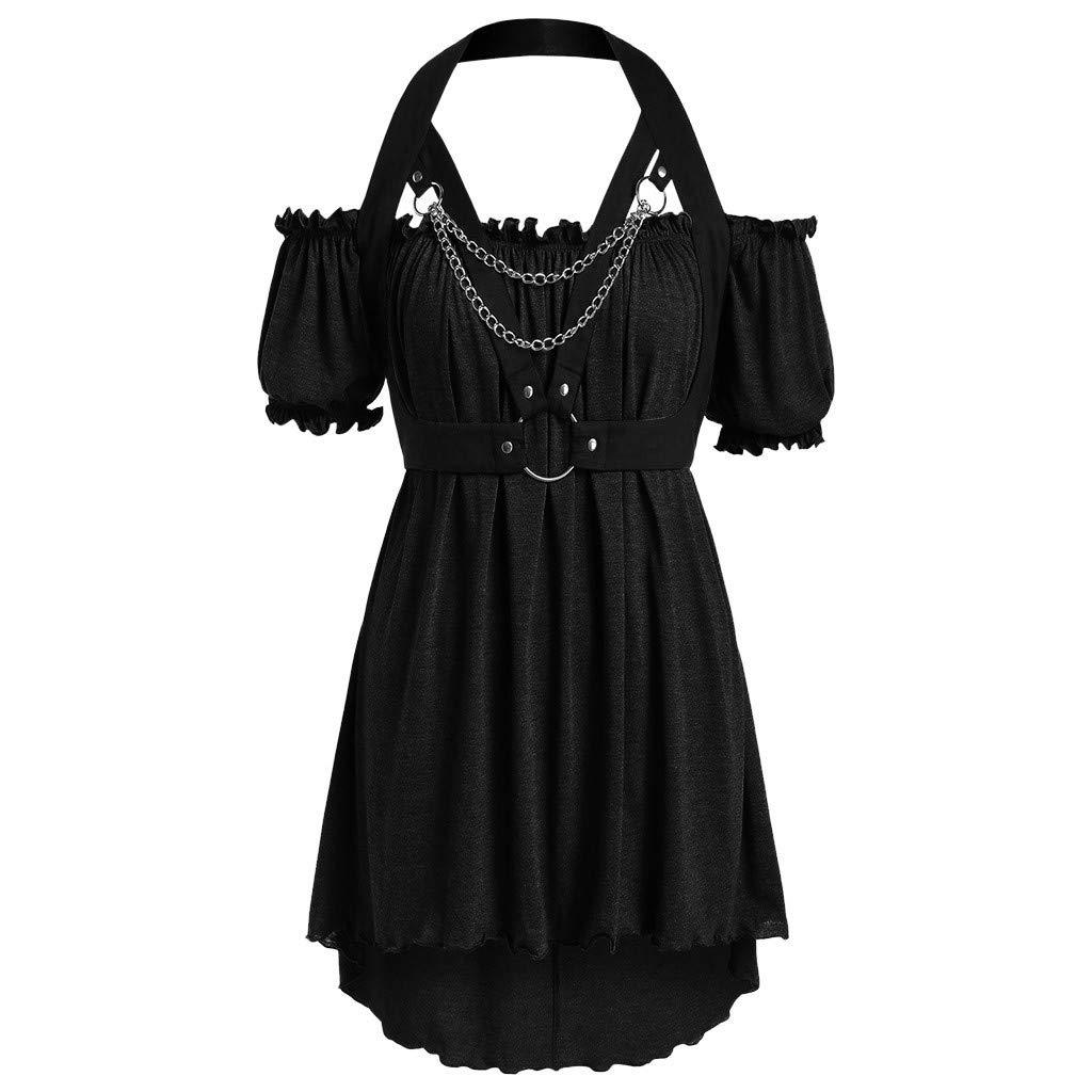 ZOMUSAR Fashion Ladies Large Size Short Sleeve Retro Strapless Retro Novel Mini Dress for Women Black