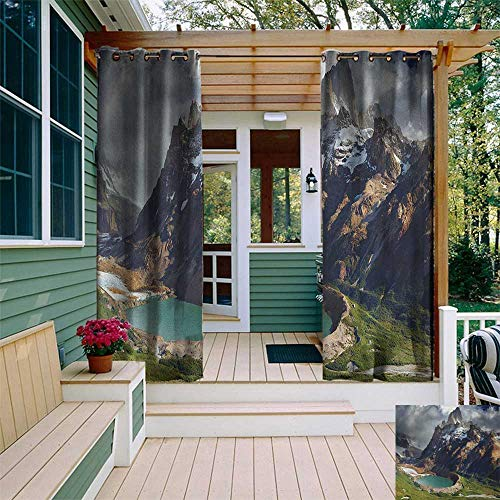 leinuoyi Landscape, Outdoor Curtain Kit, Mount Fitz Roy and Laguna Torre Los Glaciares National Park Patagonia Argentina, Fabric by The Yard W72 x L96 Inch Multicolor