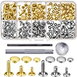 #6: Bememo 120 Set Leather Rivets Double Cap Rivet Buttons with Setting Tool Kit and Storage Box for DIY Leather Craft, 3 Sizes