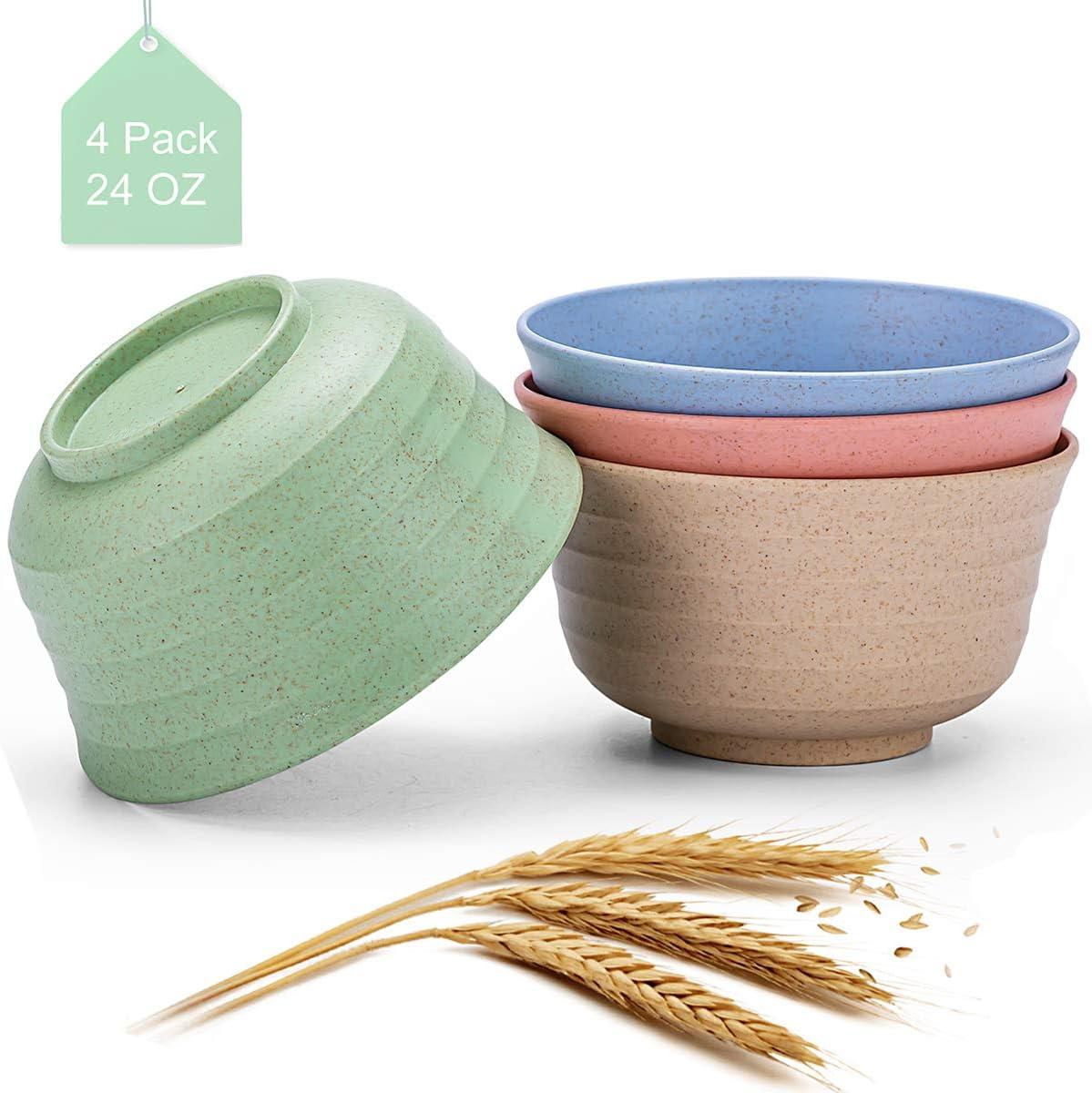 Bligo Unbreakable Cereal Bowls, Lightweight Wheat Straw Fiber Bowl for Children Rice Noodle Soup Snack, Dishwasher & Microwave Safe, 24 OZ, 4 Pack