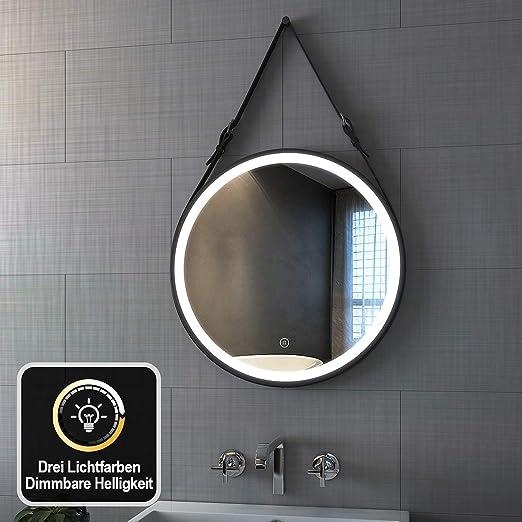 Design LED-Beleuchtung Badspiegel Wandspiegel Lichtspiegel GS047N rund 60cm kaltwei/ß
