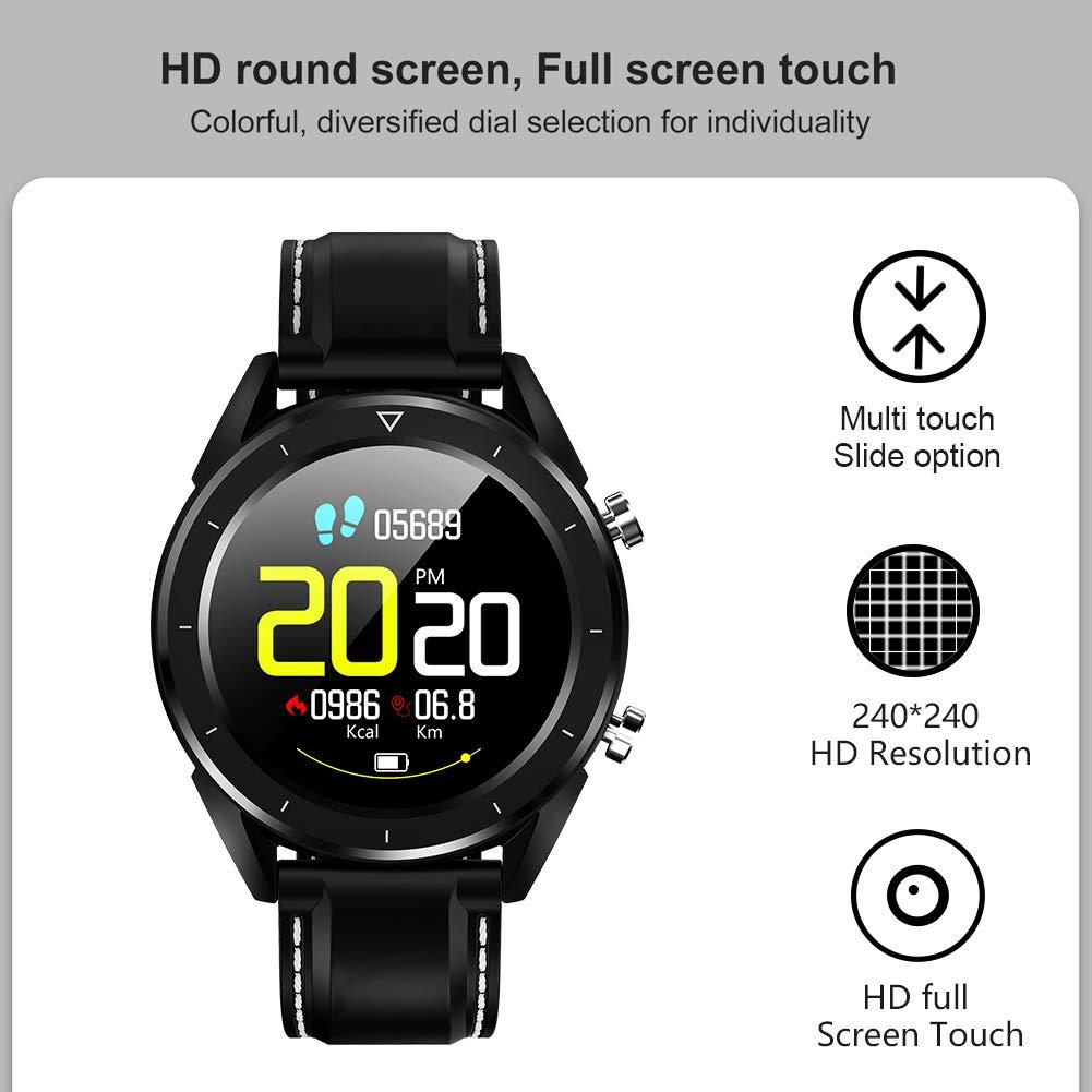 Smartwatch, Kivors Reloj Inteligente Bluetooth SmartWatch Pantalla táctil con Múltiples Modos de Deportes, Monitor de sueño, Podómetro, Notificación de ...