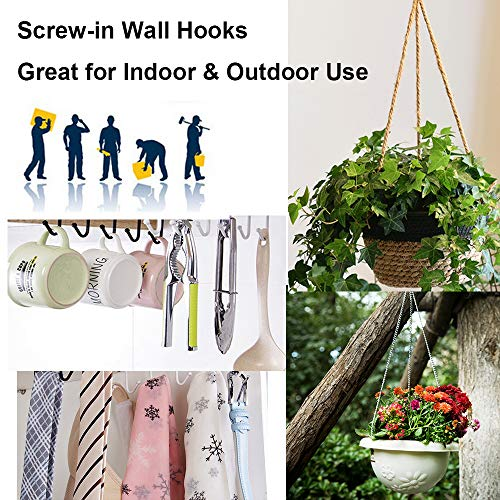XeeDoo Cup Hooks for Hanging,20 Pack 1 inch Metal Screw in Ceiling Hooks Heavy Duty Brass Plated Hooks Holders for Outdoor Indoor Gold