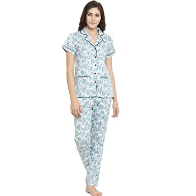 b221c4dd3f Claura Printed White and Blue Women Cotton Night Suit Or Top   Pyjama Set -X