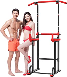 BEDDYB Power Tower, Heavy Duty Pull Up Dip Station, Adjustable Strength Training Power Tower Fitness Workout Exercise Machine.