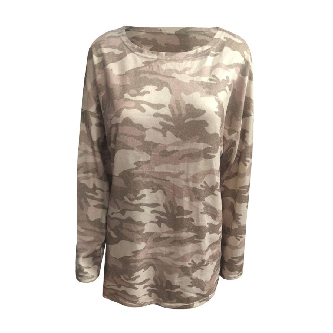 Womens Plus Size Tunic Tops Camo Long Sleeve T-Shirts Crew Neck Casual Loose Fit Blouse Tees Tops