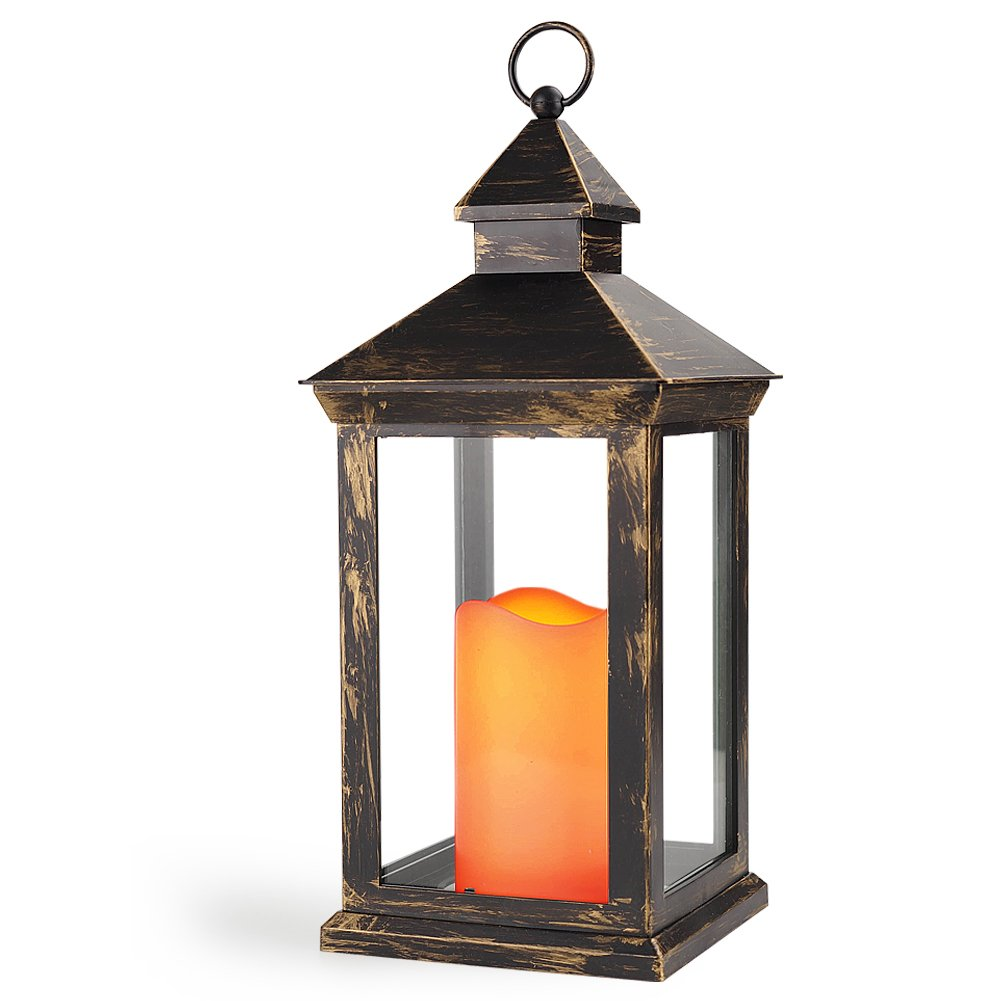 Bright Zeal BZY 14'' TALL Vintage Decorative Lantern with LED Pillar Candle (BRONZE, Batteries Included) - Outdoor Lanterns Decorative Hanging 1182