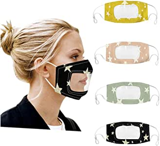 【USA In Stock 】4PCS Adults Face Bandanas Lip Reading Mouth Face Protective with Clear Window Visible Expression for Women and Men,Unisex Smile Communicator Washable Reusable Dustproof ṁɑѕḱ Face Fabric