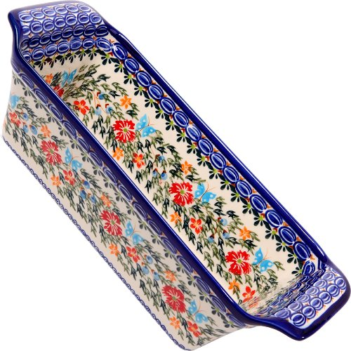 (Polish Pottery Ceramika Boleslawiec Bread Meatloaf Baker, 12-3/4-Inch by 5-3/8-Inch, 6 Cups, Royal Blue Patterns with Red Cornflower and Blue Butterflies Motif)