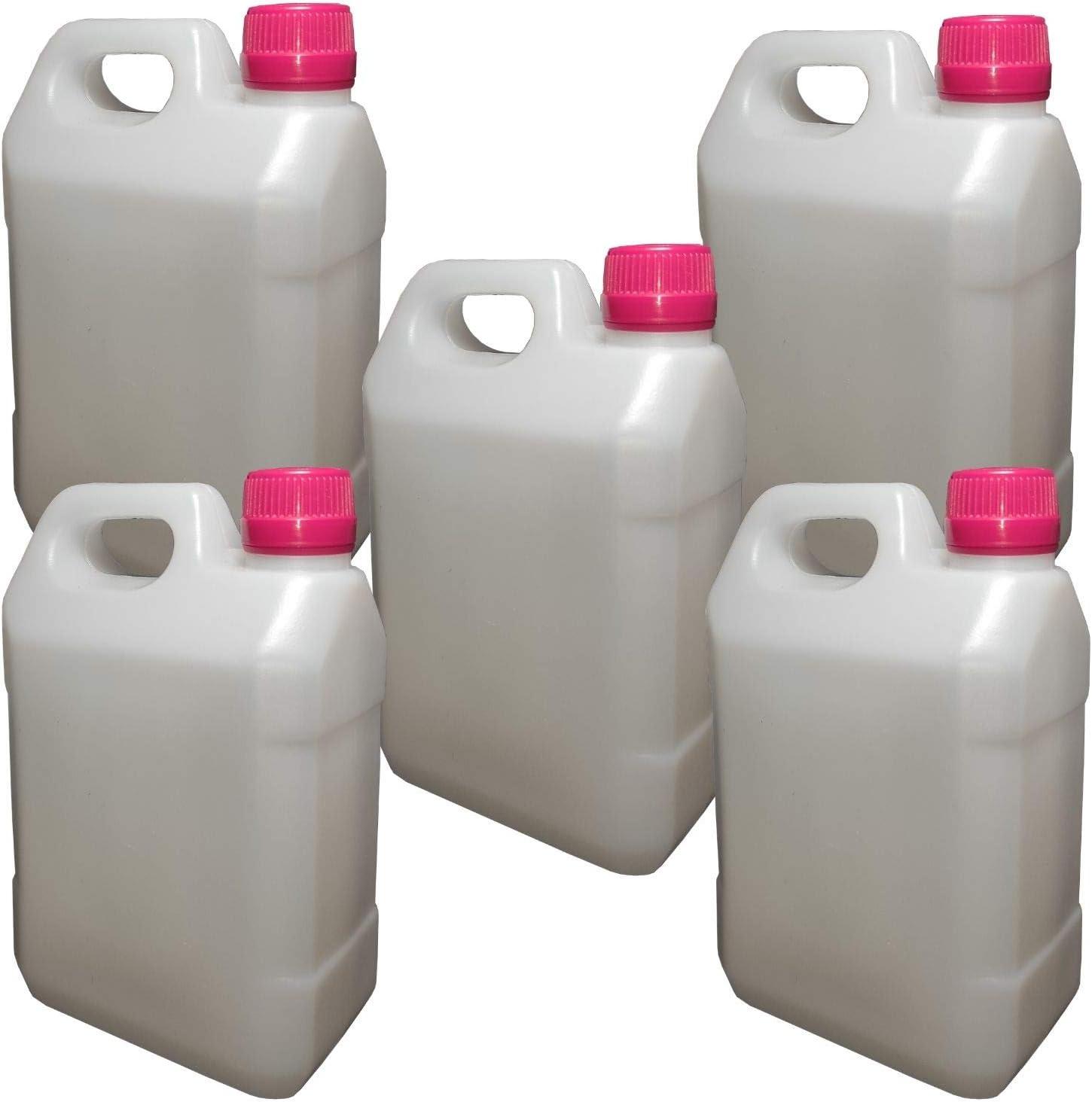 5 Bidones de 1000 ml de Polietileno de Alta Densidad (HDPE) con tapón - Garrafa de 1 litro para Camping aceites Gasolina o Productos químicos, Botella de plastico bidon Jerry Alcohol