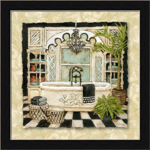 Park Avenue Bath II by Charlene Olson Vintage Bathtub 13.5x13.5 Framed Art Print Picture Wall Decor