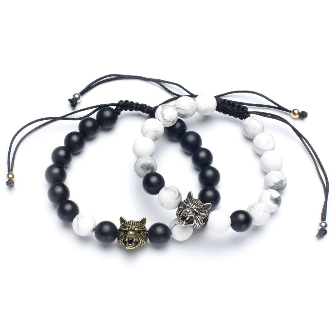 Karseer Yin Yang Matching Distance Bracelet Retro Wolf Head Charm Black Matte Onyx and White Howlite 8mm Stone Beads Bracelets Friendship Relations Bracelet Set for Guys Couples His and Hers