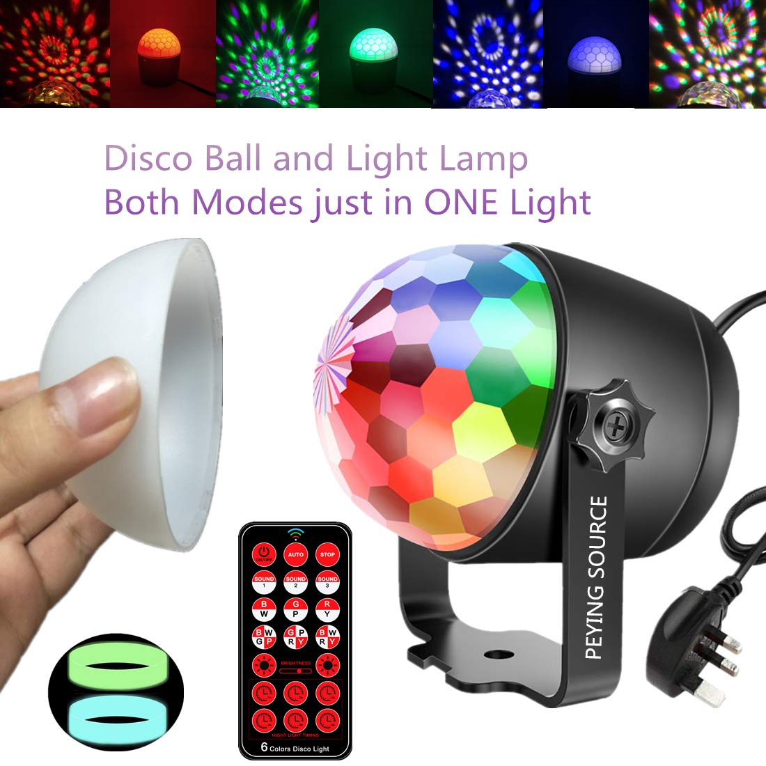 Disco Ball Party Lights Crystal Stage Light 6 Colors Sound Activated 2 in 1 Night Lamp (6 colors)