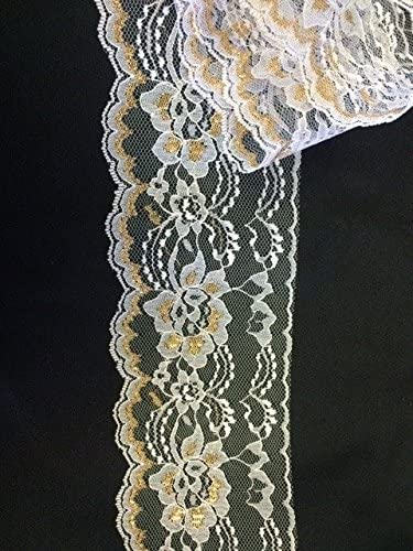 GOLD on WHITE~3 Inch Wide Floral Flat Lace Trim~10 Yards