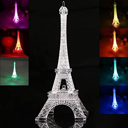Ledmomo Lumiere Coloree De La Tour Eiffel Lumiere De Nuit Decoration De Style Paris Lumiere Led Lampe Acrylique De Chambre