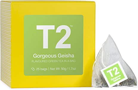 T2 Tea Gorgeous Geisha Green Tea Bags in Box, 25-Count