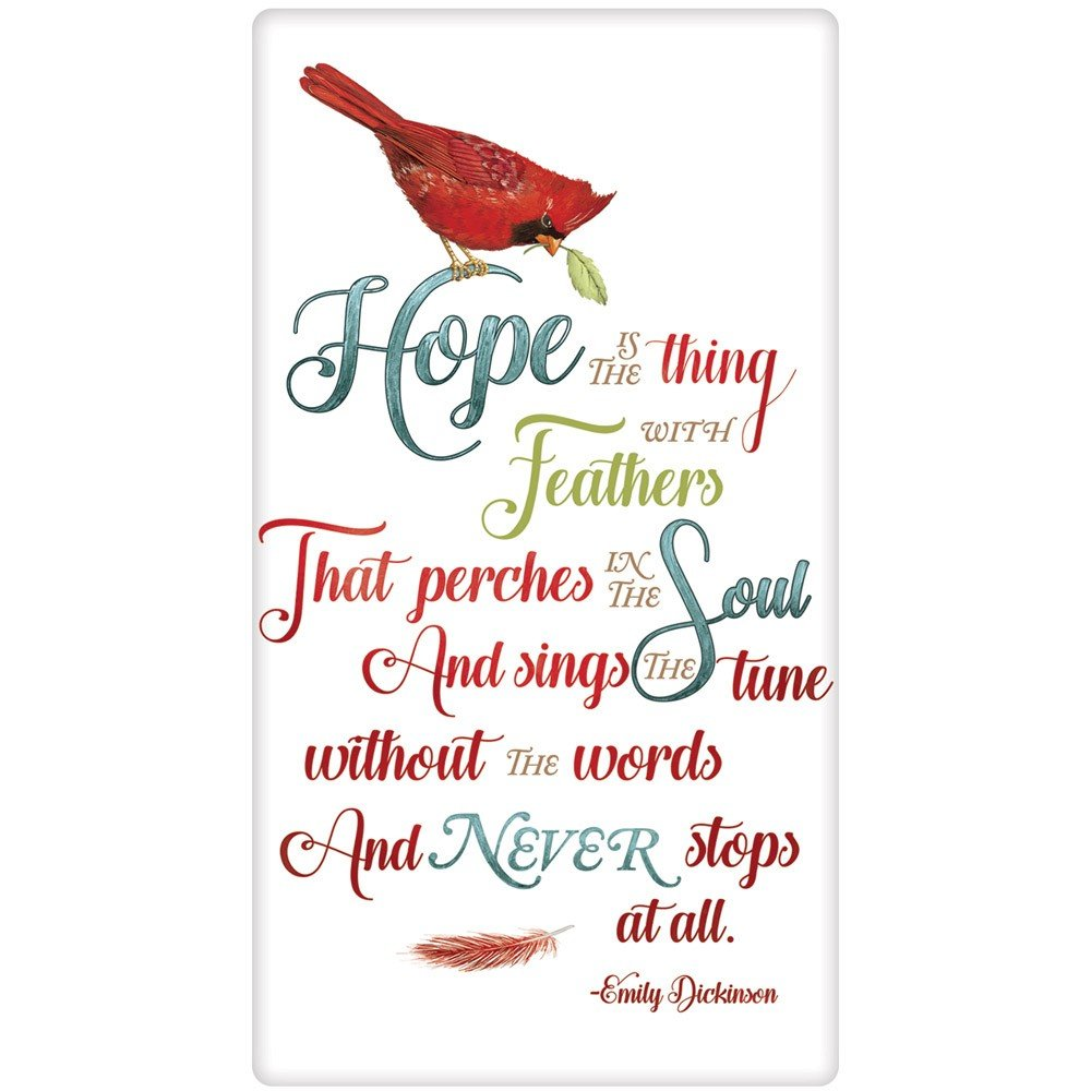 Mary Lake-Thompson Dickinson Hope is the Thing with Feathers Flour Sack Towel