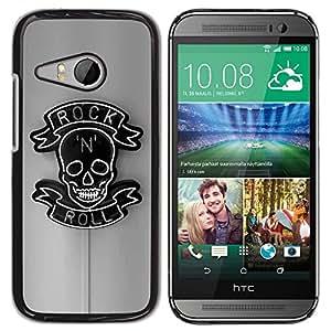 Be Good Phone Accessory // Dura Cáscara cubierta Protectora Caso Carcasa Funda de Protección para HTC ONE MINI 2 / M8 MINI // Rock Roll Grey Black Neon Sign N Skull