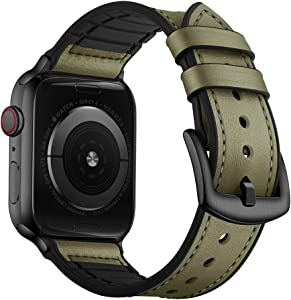 OUHENG Compatible with Apple Watch Band 42mm 44mm, Sweatproof Genuine Leather and Rubber Hybrid Band Strap Compatible with iWatch Series 5 4 3 2 1, Army Green Band with Black Adapter
