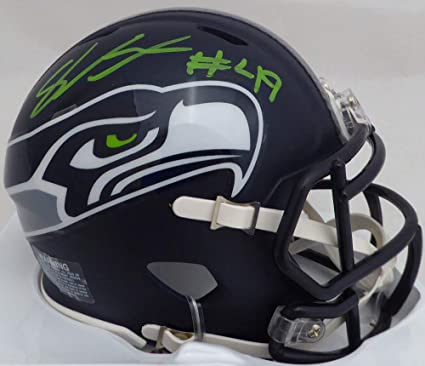 SHAQUEM GRIFFIN AUTOGRAPHED SEATTLE SEAHAWKS MINI HELMET IN GREEN MCS HOLO  STOCK  134382 1470a7ccd