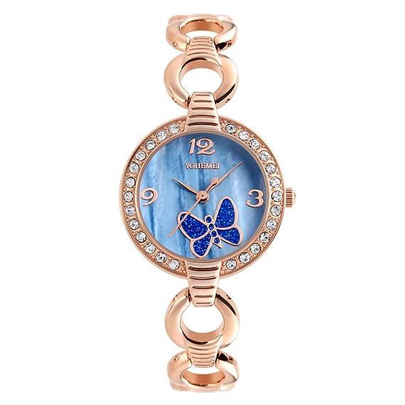 amstt Mujer Mujer Rose Gold Quartz Pulsera Relojes Fácil resistente al agua zogenes Reloj de pulsera
