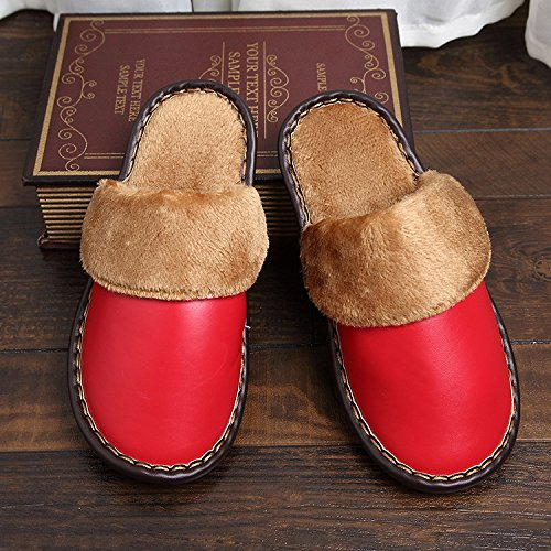 Cotone leather E Mhgao Pantofole Faux Domestici Caldo In Da Il Libero Indoor Red Per Tempo Inverno Donna Autunno 3RjqA5L4