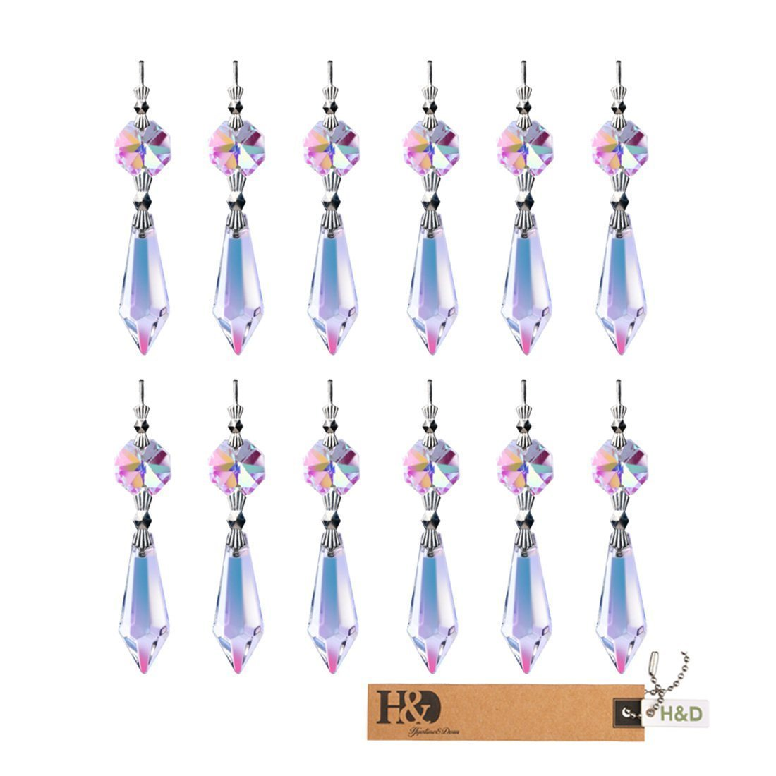 Pack of 5 Usany 20mm Pink Crystal Ball Drop Prisms